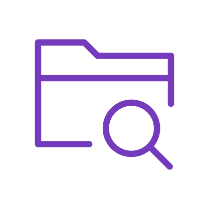 File with magnifying glass purple icon