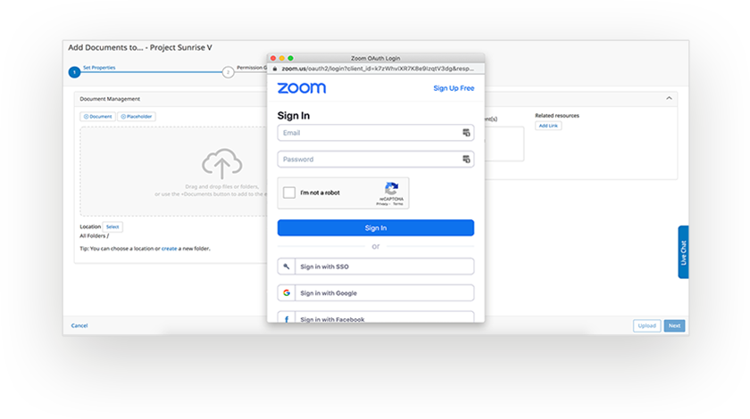 Zoom integration: log in