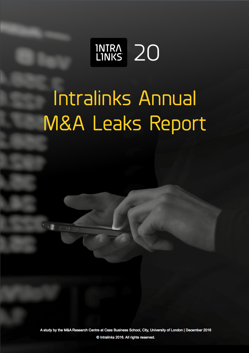 Research by Cass Business School and Intralinks shows M&A deals leaks have increased despite tightening regulations