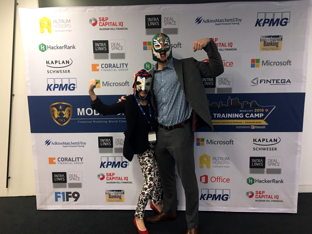 The Luchador Dinero with his friend at the ModelOff Finals