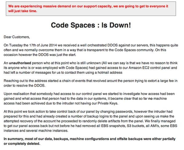 Code spaces