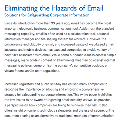 Eliminating the Hazards of Email white paper