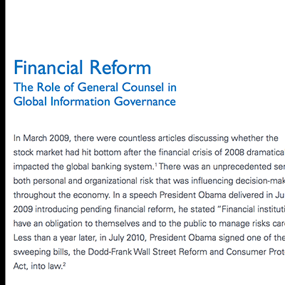 Financial Reform white paper