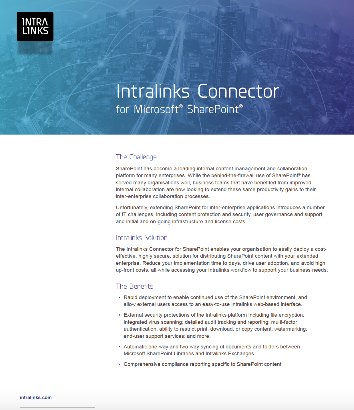 Intralinks Connector for Microsoft SharePoint