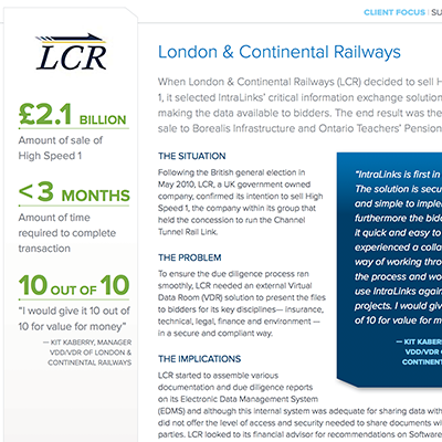 London Continental Railroad case study preview