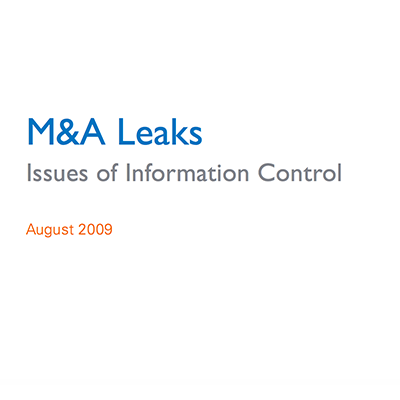 Intralinks white paper: M&A Leaks – Issues of Information Control