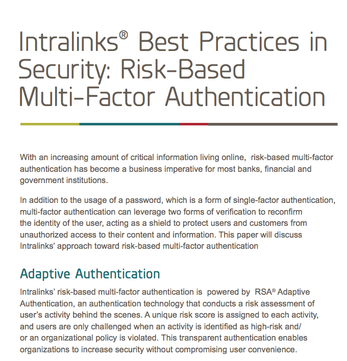 Intralinks white paper: Best Practices in Security Risk-Based Multi-Factor Authentication