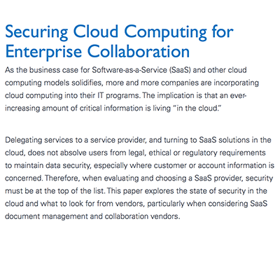 Securing Cloud Computing for Enterprise Collaboration white paper