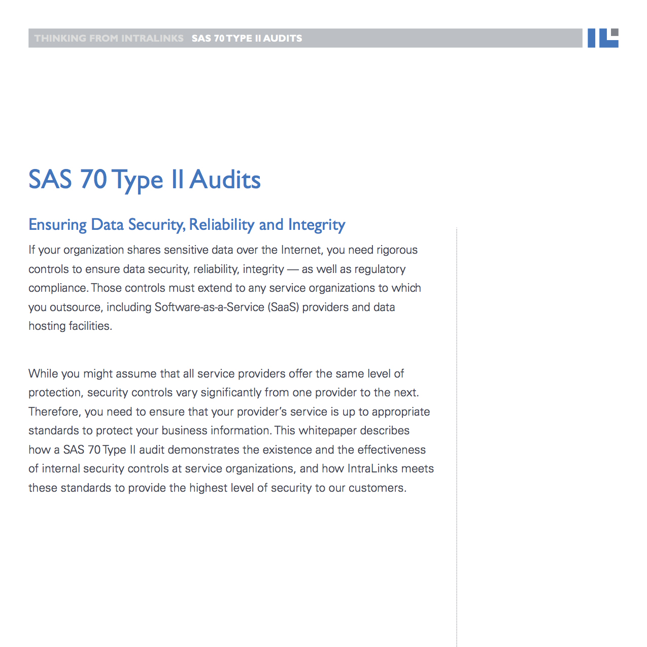 Intralinks white paper: SAS 70 Type II