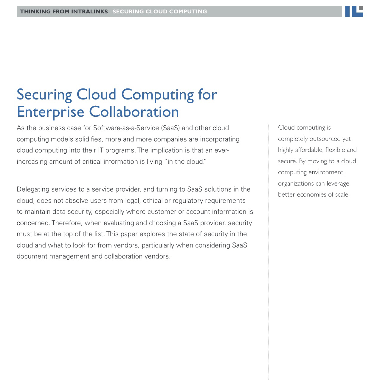 Intralinks white paper: Securing Cloud Computing for Enterprise Collaboration
