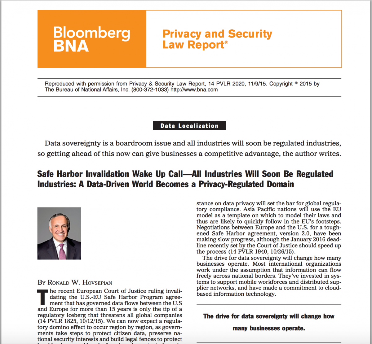 Bloomberg BNA - Privacy and Security Law Report®