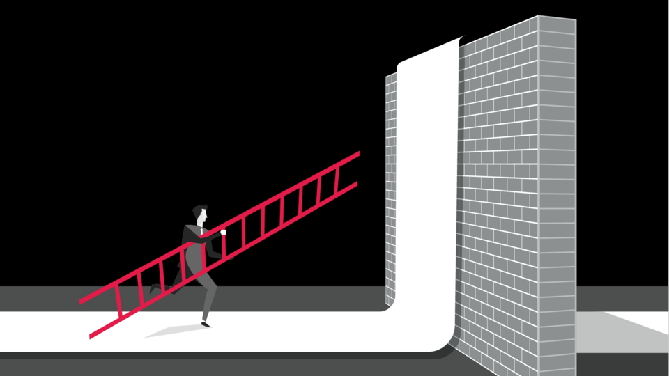 Illustration of person carrying ladder to high wall